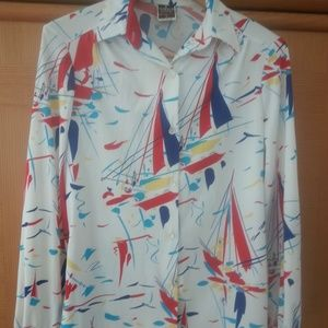 Vintage Polyester Button Down Blouse